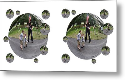 Chasing Bubbles - Cross Your Eyes And Focus On The Middle Image That Appears Metal Print by Brian Wallace