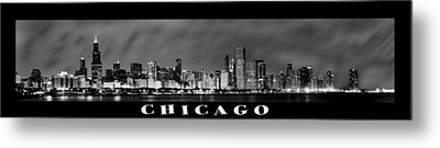Chicago Panorama At Night Metal Print by Sebastian Musial
