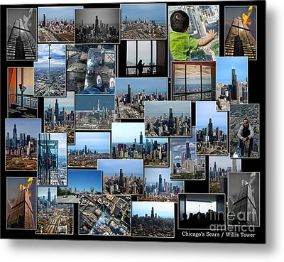 Chicago's Sears Willis Tower Collage Metal Print by Thomas Woolworth