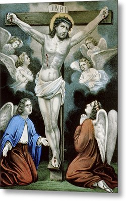 Christ And The Angels Circa 1856 Metal Print by Aged Pixel