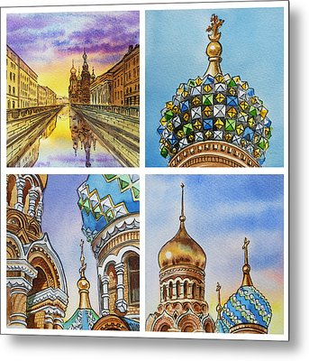 Colors Of Russia Church Of Our Savior On The Spilled Blood  Metal Print by Irina Sztukowski