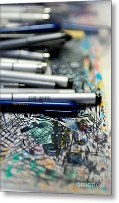 Comic Book Artists Workspace Study 1 Metal Print by Amy Cicconi
