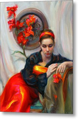 Common Threads - Divine Feminine In Silk Red Dress Metal Print by Talya Johnson