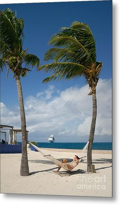 Couple In Hammock On Beach Metal Print by Amy Cicconi