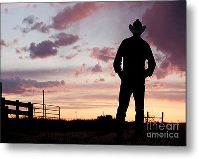 Cowboy Sunset Metal Print by Cindy Singleton