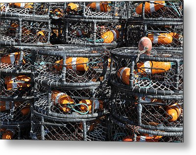 Crab Pots Metal Print by Brandon Bourdages