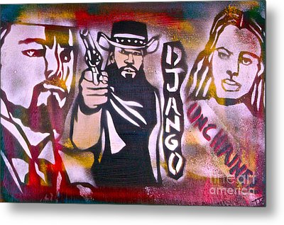 Django Blood Red Metal Print by Tony B Conscious