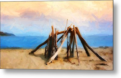 Driftwood Sculpture At Rincon Metal Print by Ron Regalado
