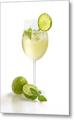 Drink With Lime And Mint In A Wine Glass Metal Print by Palatia Photo