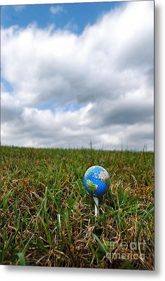 Earth Golf Ball On Tee Metal Print by Amy Cicconi