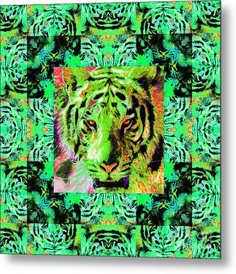 Eyes Of The Bengal Tiger Abstract Window 20130205m180 Metal Print by Wingsdomain Art and Photography