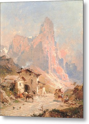 Figures In A Village In The Dolomites Metal Print by Franz Richard Unterberger