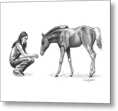 First Love Girl With Horse Foal Metal Print by Renee Forth-Fukumoto