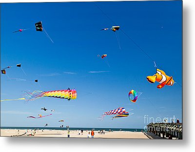 Flying Kites At St Augustine Beach Pier Metal Print by Michelle Wiarda