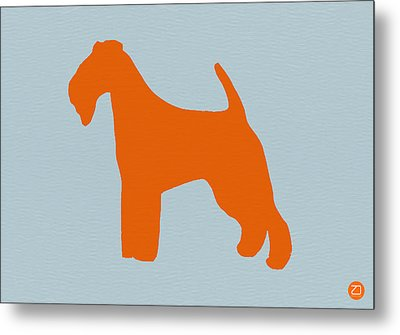 Fox Terrier Orange Metal Print by Naxart Studio
