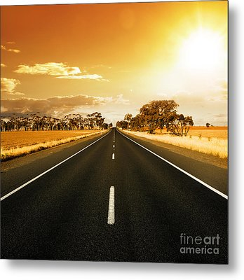 Golden Sky And Road Metal Print by Boon Mee