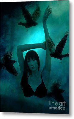 Gothic Surreal Ravens With Asian Girl  Metal Print by Kathy Fornal