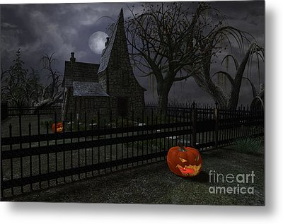 Halloween Witch House - 1 Metal Print by Fairy Fantasies
