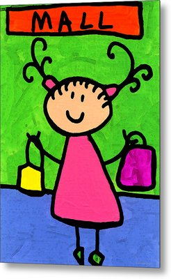 Happi Arti 5 - Shopaholic Little Girl Art Metal Print by Sharon Cummings
