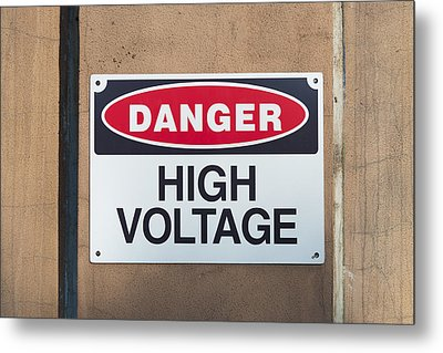 High Voltage Sign Metal Print by Hans Engbers