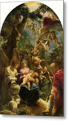 Holy Family With Angels Metal Print by Adam Elsheimer