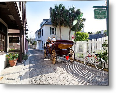 Horse And Buggy Ride St Augustine Metal Print by Michelle Wiarda