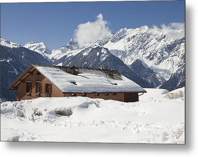 House In The Alps In Winter Metal Print by Matthias Hauser