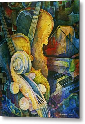 Jazzy Cello Metal Print by Susanne Clark