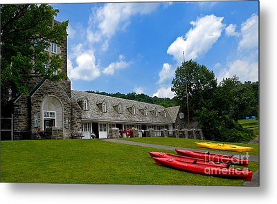 Kayaks At Boat House Metal Print by Amy Cicconi