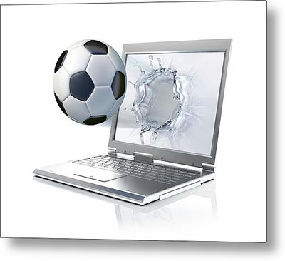 Laptop With Football Metal Print by Leonello Calvetti