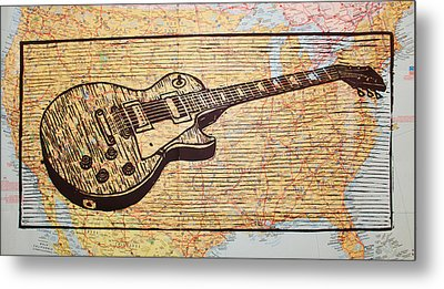 Les Paul On Usa Map Metal Print by William Cauthern