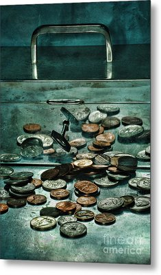Locked Silver Box With Coins Metal Print by HD Connelly