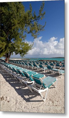 Lounge Chairs On The Beach Metal Print by Amy Cicconi