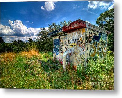 Love Graffiti Covered Building In Field Metal Print by Amy Cicconi