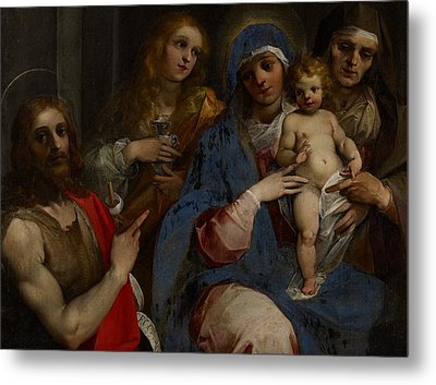 Madonna And Child With Saints John The Baptist With Mary Magdalene And Anne Metal Print by Guiseppe Cesari