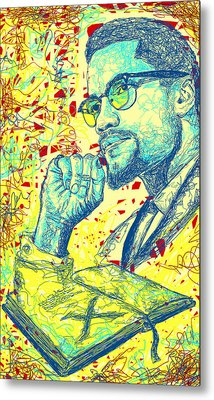 Malcolm X Drawing In Lines Metal Print by Kenal Louis
