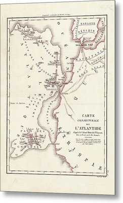 Map Of Atlantis Metal Print by Library Of Congress, Geography And Map Division
