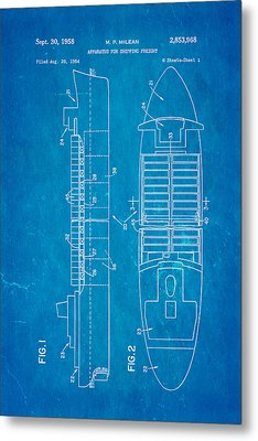 Mclean Shipping Container Patent Art 1958 Blueprint Metal Print by Ian Monk