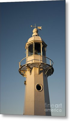 Mevagissey Lighthouse In The Evening Metal Print by Anne Gilbert