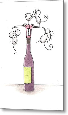 Mice With Wine Metal Print by Christy Beckwith