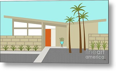 Mid Century Modern House 1 Metal Print by Donna Mibus