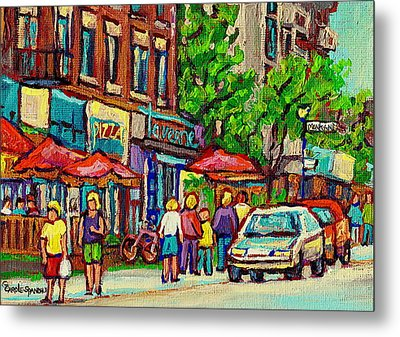 Monkland Tavern Corner Old Orchard Montreal Street Scene Painting Metal Print by Carole Spandau