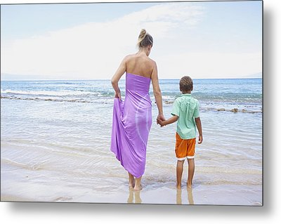 Mother And Son On Beach Metal Print by Kicka Witte