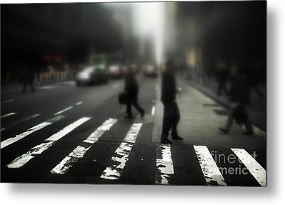 Mysterious Business Men In New York City Crosswalk Metal Print by Amy Cicconi