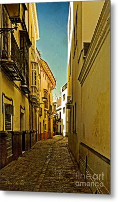 Narrow Street In Seville Metal Print by Mary Machare