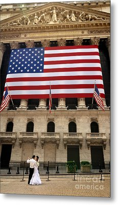 New York Stock Exchange Bride And Groom Dancing Metal Print by Amy Cicconi