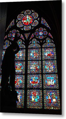 Notre Dame Stained Glass Silhouette Metal Print by Jennifer Ancker