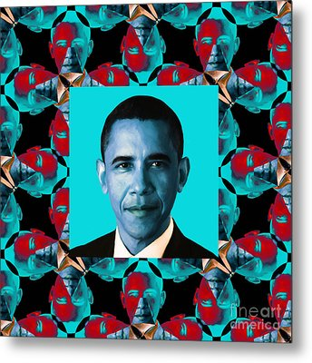 Obama Abstract Window 20130202m180 Metal Print by Wingsdomain Art and Photography