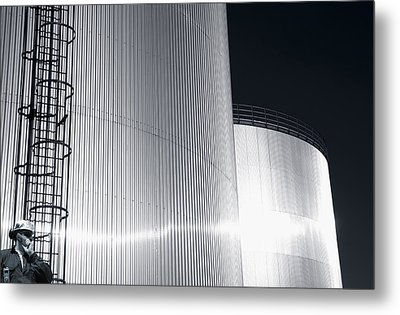 Oil And Fuel Industry At Sundown Metal Print by Christian Lagereek
