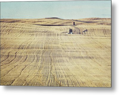 Oil And Gas Activity Among Metal Print by Roberta Murray